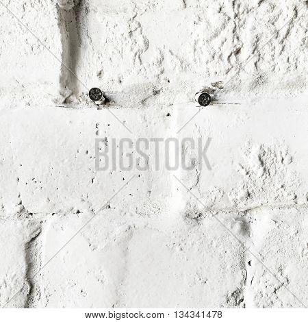 Brick Wall White Background Architecture Minimal Concept