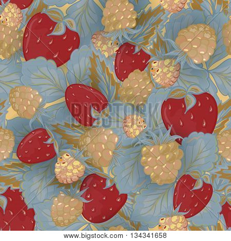 Seamless pattern of hand drawing image of delicious ripe raspberries and strawberries. Vector background. Vinous beige gray illustration.