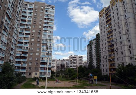 KIEV, UKRAINE -MAY 23, 2016. Typical modern residential building June 12, 2016 in Kiev, Ukraine
