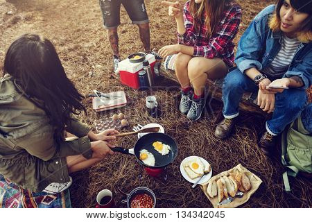 Friends Camping Morning Breakfast Cooking Concept