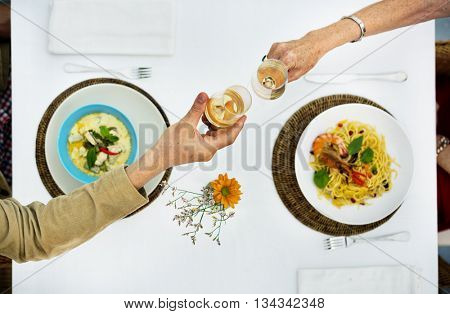 Dining Dating Couple Chamapagne Celebration Concept