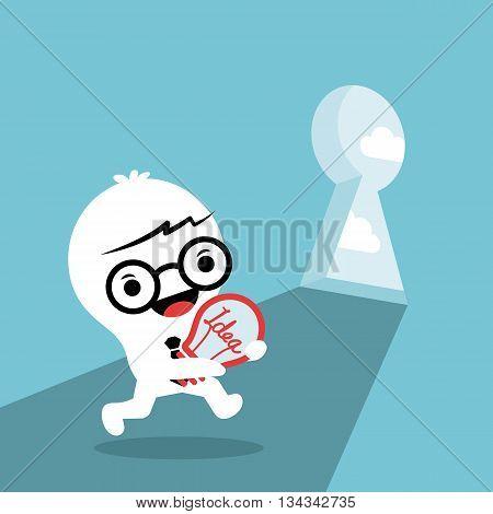 problem solving conceptual illustration with a man carrying idea light bulb walking through key hole door