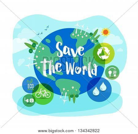 Save the World sustainable development ecology concept illustration