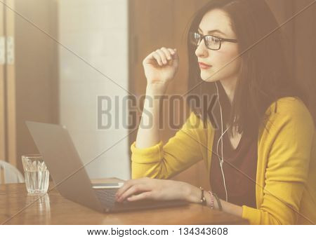 Woman Laptop Browsing Searching Social Networking Technology Concept