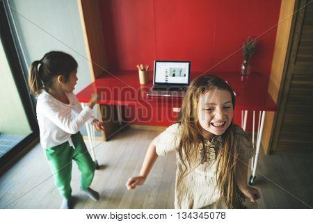Kids Dancing Practice Computer Concept