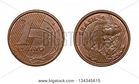 One Cent Brazilian Real Coin Front And Back Faces