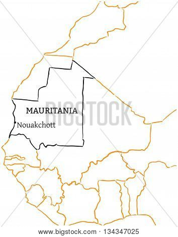 Mauritania country with its capital Nouakchott in Africa hand-drawn sketch map isolated on white