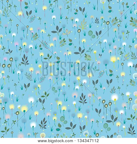 Blossoming Field. Blue Seamless Pattern. Watercolor flowers and plants. illustration.