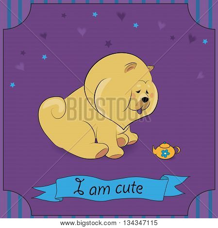 Cute yellow puppy Chow-chow with yellow teapot. Vintage card. Striped frame. Stars and hearts. Purple background. Blue banner. I am cute inscription. Illustration.