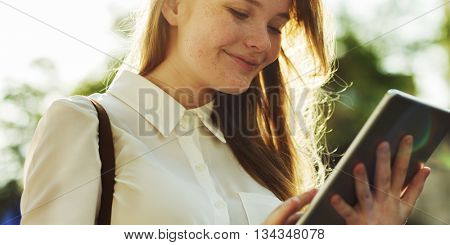 Woman Tablet Connection Smiling Communication Concept