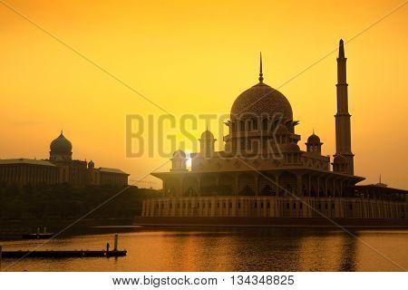 Putra mosque during sunrise Kuala Lumpur Malaysia