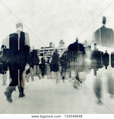 Business People Walking Motion City Concept