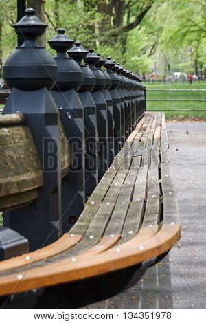The balusters of a row of park benches