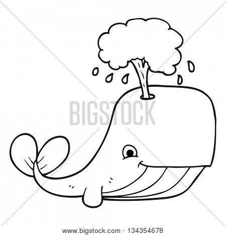 freehand drawn black and white cartoon whale spouting water