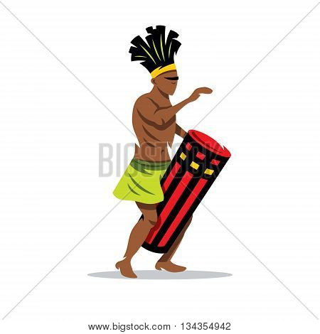 African man playing a Djembe. Isolated on a White Background