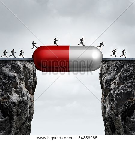 Medicine solution and medication cure concept as a group of people running across two cliffs with a prescription pill creating a bridge for medical research success with 3D illustration elements.