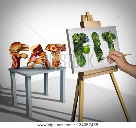Dieting focus and changing nutrition lifestyle goals as a person painting still life on canvas from fat cholesterol rich fast food to healthy fit fresh fruit and vegetables with 3D illustration elements.