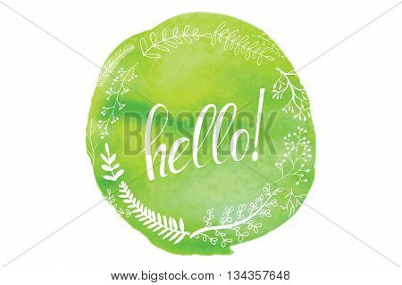Vector illustration with the word hello. Beautiful blur background of pink and red shades. Hello watercolor. Handwritten inscription.