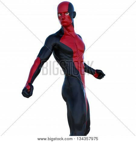 a young man in red black super suit. Posing half-turned to the camera. Latex. 3D rendering, 3D illustration