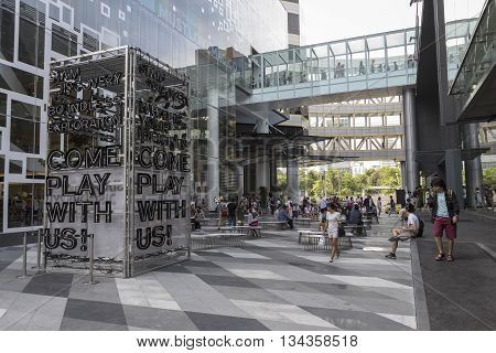 BANGKOK THAILAND - MAY 29 : scene of activity space between Siam Center and Siam Discovery after renovate in siam square on may 29 2016 thailand. siam discovery and Siam Center is popular place in siam square