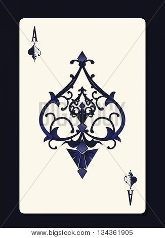 Ace of spades with forging curl pattern ornament inside it. Casino or gambling symbol. Vector illustration,