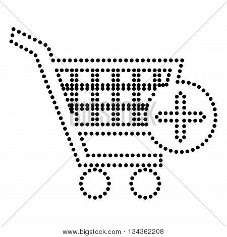 Shopping Cart with add Mark sign. Dot style or bullet style icon on white.