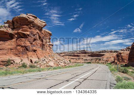 Driving Along Grand Mesa Near Colorado National Monument At Grand Junction, Colorado,  Usa