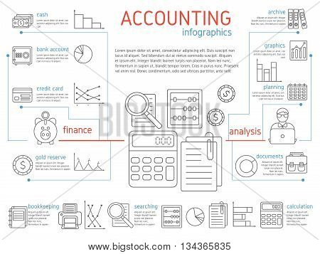 Accountant linear infographics with description of finance credit card cash gold reserve and analysis planning graphs documents vector illustration