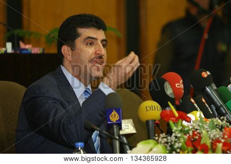 ARBIL, IRAQ-JANUARY 1: Kurdistan Regional Government Prime Minister Nechirvan Barzani makes parliamentary speech on January 1, 2007 in Arbil, Iraq.