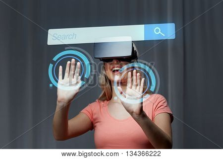 technology, virtual reality, entertainment and people concept - happy young woman with virtual reality headset or 3d glasses playing game at home looking at internet browser search bar projection