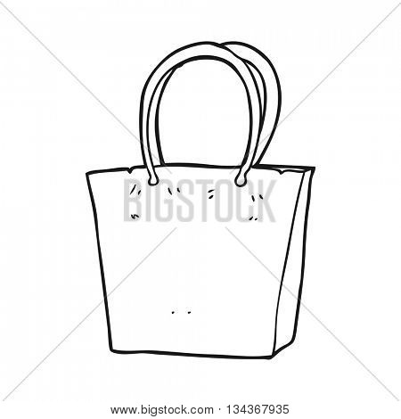 freehand drawn black and white cartoon shopping bag