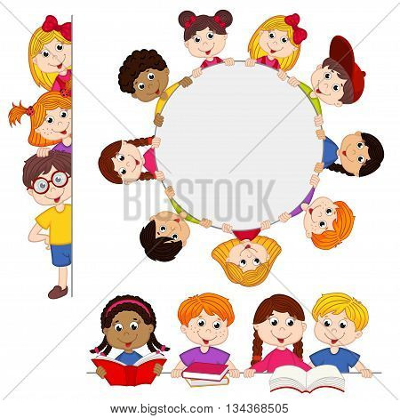 kids peeping behind placard - vector illustration, eps