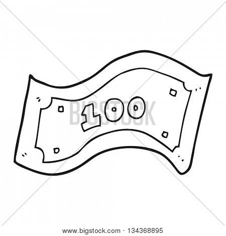 freehand drawn black and white cartoon 100 dollar bill