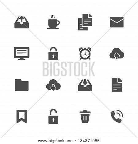 Miscellaneous flat icons black set of 16