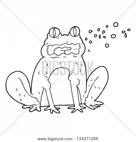 freehand drawn black and white cartoon burping frog poster