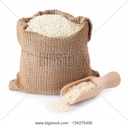 sesame seeds in sack with wooden scoop isolated on white background. Full burlap bag with sesame seeds. Sesame seeds