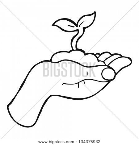 freehand drawn black and white cartoon seedling growing held in hand