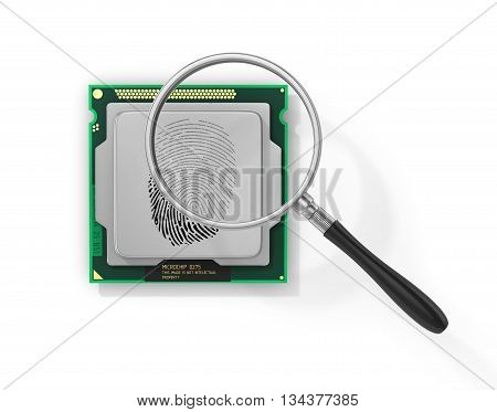 Concept of secure information. Magnifier over processor with fingerprint in form of binary code in field of view magnifying glass. Find the hacker. 3d illustration