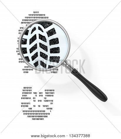 Concept of secure information. Magnifier over boot print in form of binary code out of view magnifying glass. Find the hacker. 3d illustration