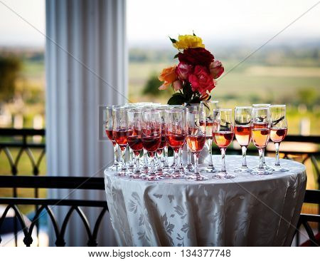 Champagne glasses at the entrance to a wedding venue