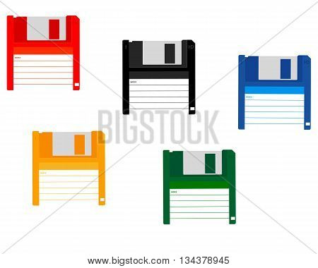 floppy disk of different colors for a computer