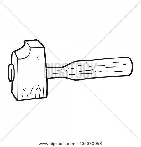 freehand drawn black and white cartoon mallet