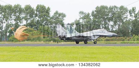 Leeuwarden, The Netherlands - Jun 10, 2016: Slovak Air Force Mig-29 Fulcrum Landing During A Demonst