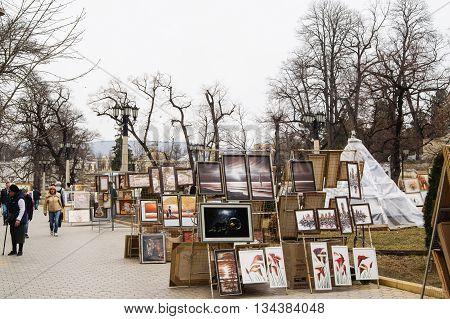 Kislovodsk, Russia - 28 February, Street Art Gallery, 28 February, 2016. Resort zone Mineral Waters, Krasnodar region.
