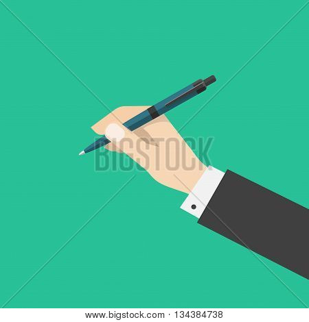 Hand holding pen isolated on green color background, flat cartoon hand with ballpoint pen