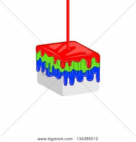 Red, green, blue leaking oil on cube. Vector creative RGB concept for print company. Print shop idenity.