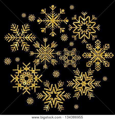 Set of golden snowflakes on black background