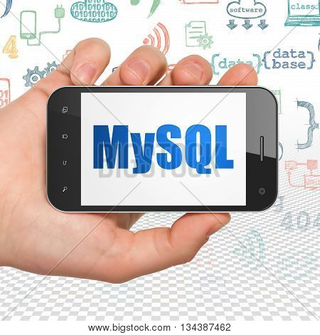 Database concept: Hand Holding Smartphone with  blue text MySQL on display,  Hand Drawn Programming Icons background, 3D rendering