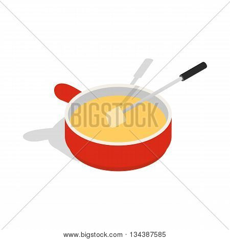 Cheese fondue icon in isometric 3d style on a white background