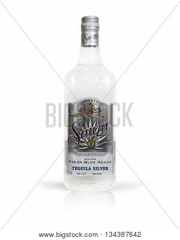Chisinau Moldova - June 14 2016: Bottle Sauza Tequila of on white backgorund. In 1873 Don Cenobio Sauza at La Perseverancia distiller was the first to call the liquor tequila and to import to the USA.With clipping path.